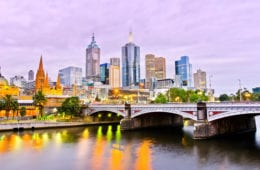 47030252 - view of melbourne skyline at dusk australia