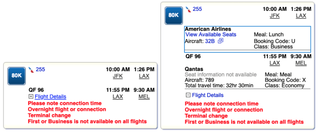 American Airlines Expand Flight Details