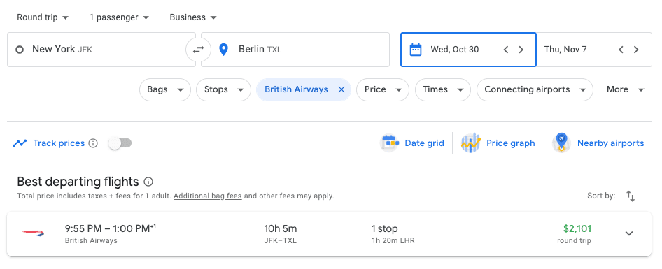 Google Flights Business Class Search Example